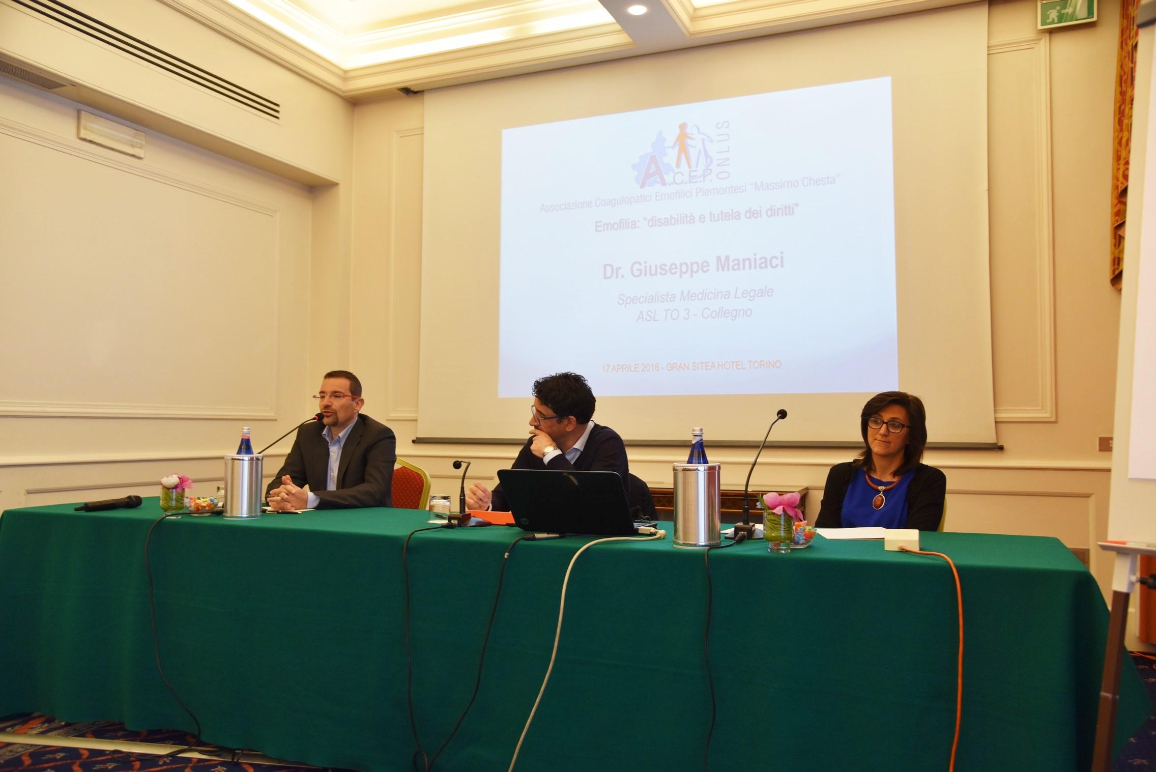 Il Dottor Giuseppe Maniaci - Medico Legale, Alberto Garnero - Presidente dell'ACEP, Elena Gaiani-Vice Presidente dell'ACEP